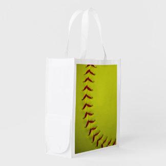 Softball amarillo de neón bolsa para la compra