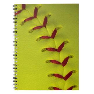 Softball amarillo de neón de Dayglo Libro De Apuntes Con Espiral