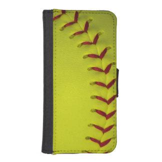 Softball amarillo de neón fundas billetera de iPhone 5