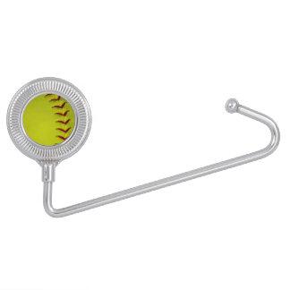 Softball amarillo de neón gancho para bolsos