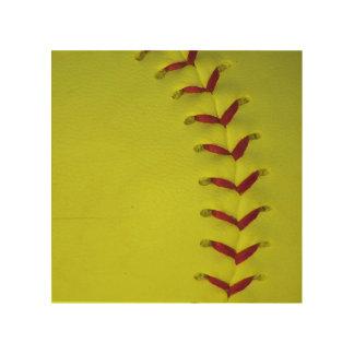 Softball amarillo de neón cuadro de madera