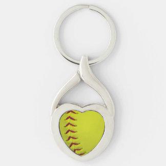 Softball amarillo de neón llavero plateado en forma de corazón