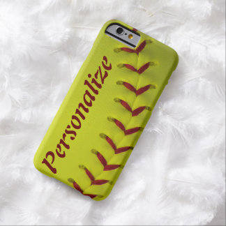 Softball amarillo de neón personalizado funda para iPhone 6 barely there
