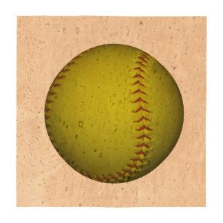 Softball amarillo de neón posavasos