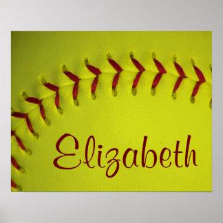 Softball amarillo personalizado poster
