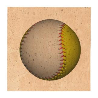Softball amarillo y blanco brillante posavasos