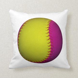 Softball amarillo y rosado brillante cojin