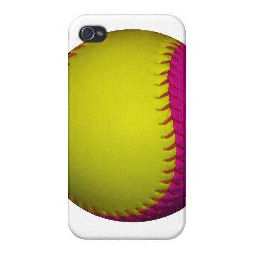 Softball amarillo y rosado brillante iPhone 4/4S fundas