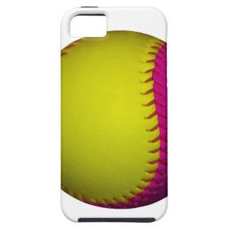 Softball amarillo y rosado brillante funda para iPhone SE/5/5s