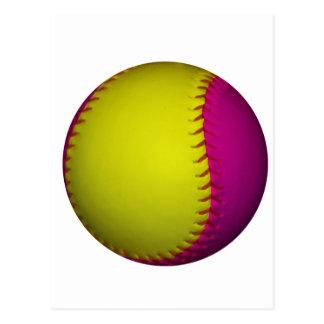 Softball amarillo y rosado brillante postales