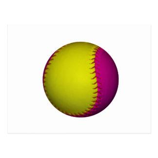 Softball amarillo y rosado brillante postal