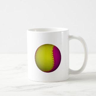 Softball amarillo y rosado brillante tazas de café