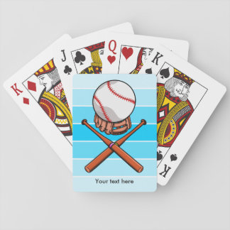 Softball and Cross Bats With Blue Stripes Playing Cards