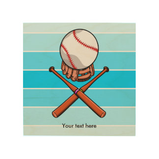 Softball and Cross Bats With Blue Stripes Wood Wall Art