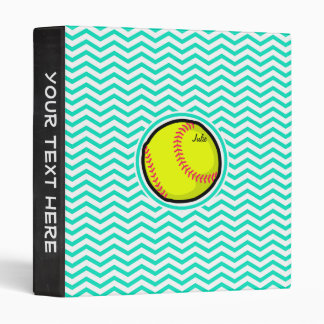 Softball; Aqua Green Chevron Binder