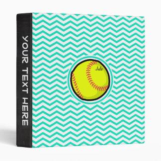 Softball; Aqua Green Chevron 3 Ring Binders