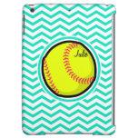 Softball; Aqua Green Chevron Case For iPad Air