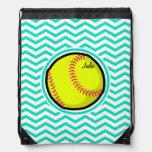 Softball; Aqua Green Chevron Cinch Bag
