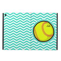 Softball; Aqua Green Chevron Cover For iPad Air