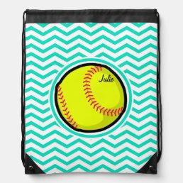 Softball; Aqua Green Chevron Drawstring Bag