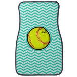 Softball; Aqua Green Chevron Floor Mat