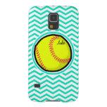 Softball; Aqua Green Chevron Galaxy S5 Covers