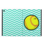 Softball; Aqua Green Chevron iPad Air Case