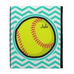Softball; Aqua Green Chevron iPad Folio Cover