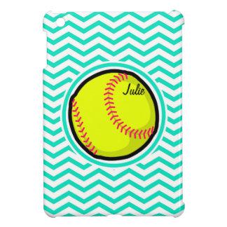 Softball; Aqua Green Chevron Case For The iPad Mini