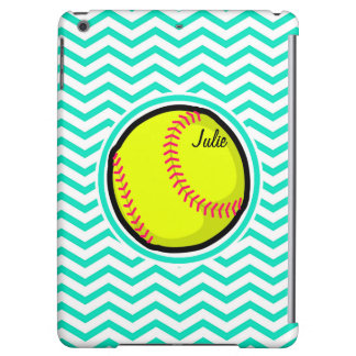 Softball Aqua Green Chevron Case For iPad Air