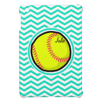 Softball; Aqua Green Chevron iPad Mini Cases
