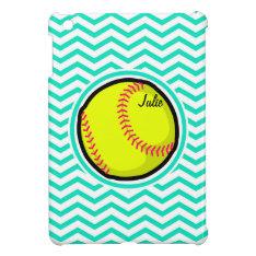 Softball; Aqua Green Chevron Ipad Mini Cases at Zazzle