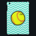 "Softball; Aqua Green Chevron iPad Mini Cover<br><div class=""desc"">Cool,  cute yellow softball design on  aqua,  turquoise green and white chevron stripes  pattern.  Great gift for softball players or sports fans!</div>"