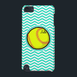 "Softball; Aqua Green Chevron iPod Touch (5th Generation) Cover<br><div class=""desc"">Cool,  cute yellow softball design on  aqua,  turquoise green and white chevron stripes  pattern.  Great gift for softball players or sports fans!</div>"
