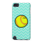 Softball; Aqua Green Chevron iPod Touch (5th Generation) Cover<br><div class='desc'>Cool,  cute yellow softball design on  aqua,  turquoise green and white chevron stripes  pattern.  Great gift for softball players or sports fans!</div>