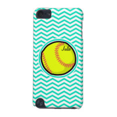 Softball; Aqua Green Chevron Ipod Touch (5th Generation) Cover at Zazzle
