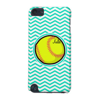 Softball; Aqua Green Chevron iPod Touch (5th Generation) Cover