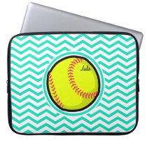 Softball; Aqua Green Chevron Laptop Sleeve