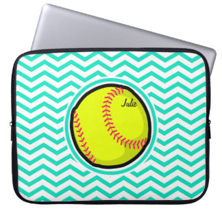 Softball; Aqua Green Chevron Laptop Sleeve