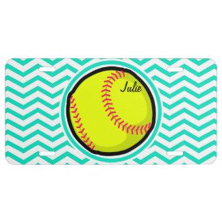 Softball; Aqua Green Chevron License Plate