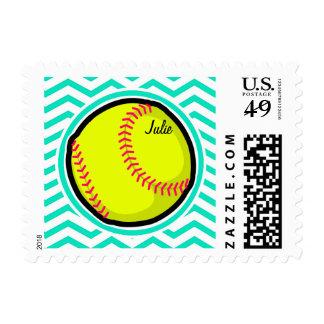 Softball; Aqua Green Chevron Stamps