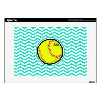 "Softball; Aqua Green Chevron Skins For 15"" Laptops"