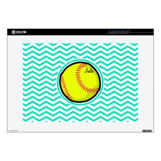 "Softball; Aqua Green Chevron Skins For 15"" Laptops"