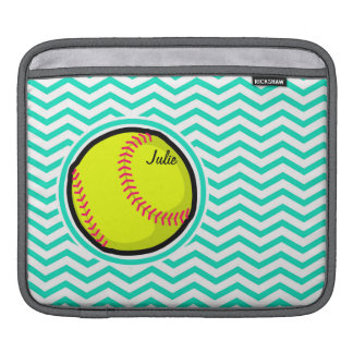 Softball; Aqua Green Chevron Sleeve For iPads