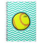 Softball; Aqua Green Chevron Spiral Note Book