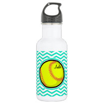 Softball; Aqua Green Chevron Stainless Steel Water Bottle