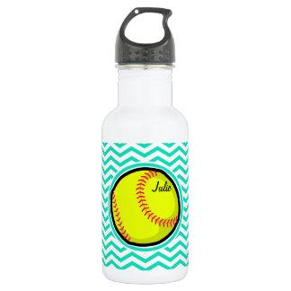 Softball; Aqua Green Chevron Stainless Steel Water Bottle