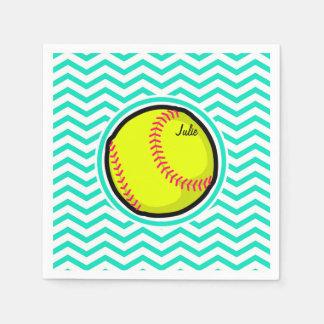 Softball; Aqua Green Chevron Paper Napkin
