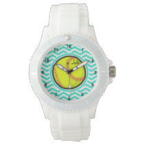 Softball; Aqua Green Chevron Wristwatch