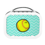 Softball; Aqua Green Chevron Yubo Lunchbox